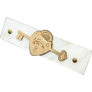 Sweetheart Pin Mother of Pearl Gold tone Heart and Key Valentine's Day