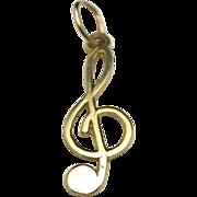 Treble Clef Pendant 14 karat yellow gold Musical symbol