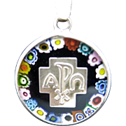 Murano Glass pendant Blue Sterling silver Italy Alpha OMEGA