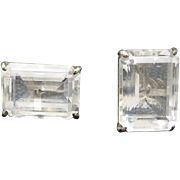 Rock crystal earrings Large Emerald Cut Stones sterling silver mounts