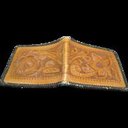 Leather Wallet Western Design Tooled Bi-fold Vintage Billfold