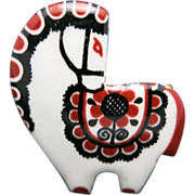 Horse pin charming RED and White enamel design