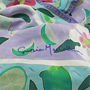 SOLD Cynthia MacCollum Silk Scarf tropical motifs Flowers Hawaiian