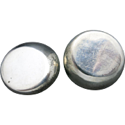 Sterling silver earrings Clip on Large shiny disks