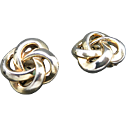 Trifari earrings Simple knot shapes Gold tone clip