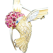 Boucher Hummingbird PIN Rhinestones GOld tone