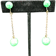Peking glass earrings Long dangle drops Green