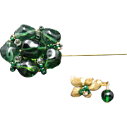 Miriam Haskell Stick Pin Emerald green glass Flower