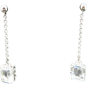 Rhinestone earrings Pierced Dangles THE BEST Emerald cut stones