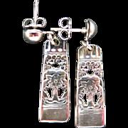 Spoon Earrings Silver Plated Pierced FLORAL