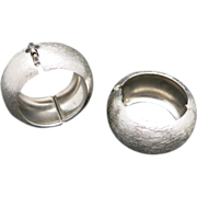 Trifari clip earrings On Hoops Silver tone metal Classic
