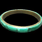 Malachite bangle bracelet Brass Green stone inlay