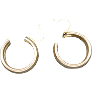 Hoop earrings yellow Gold filled Pierced Medium sized
