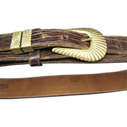 Tony Lama Belt Brown Lizard Brass Buckle  Made in USA