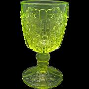 Uranium Glass Goblet Vintage Yellow Pressed glass Pattern