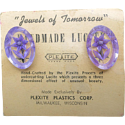 Reverse Carved lucite earrings Purple Flowers NOS