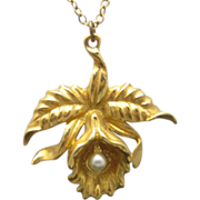 SOLD Orchid Necklace Gold tone metal Pendant Fake Pearl