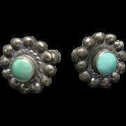 Southwestern Sterling Silver Earrings Turquoise Flower Shape