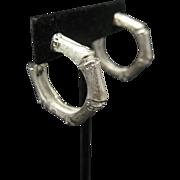 Bamboo Hoop Earrings Silver tone Metal Clip On Very Chic