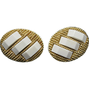 Trifari earrings Gold tone metal White Accents Clip on