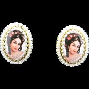 Porcelain earrings Gold tone metal Beautiful Black Hair woman