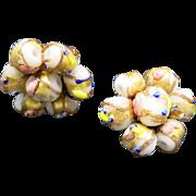 Wedding cake beads Clip on earrings White Gold foil