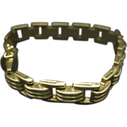 14 Karat Gold Bracelet Lovely Links Yellow Tank Track