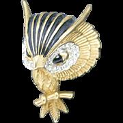 Jomaz Owl Rhinestones Enamel Gold plated metal