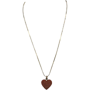 Goldstone heart Necklace gold tone metal chain