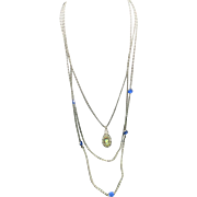 Goldette necklace Long silver tone chains Blue rhinestones Cameo Pendant