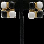 Trifari earrings black and white stones gold toned metal clip on