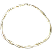 Omega chain Necklace Sterling Silver Braided Two Strand