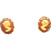 Cameo Earrings Tiny Gold Tone Clip On New Old Stock