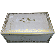 Candy tin Louis Sherry Gold Lettering Cream Color