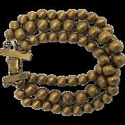 Bead chain Bracelet Three strands Brass beads WIDE
