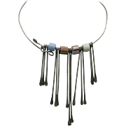 Hippie fringe necklace African trade beads sterling silver