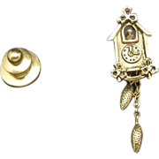 Cuckoo clock pin Gold tone metal tie tack Avon