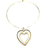 Kenneth Lane Necklace Heart Pendant Neck Ring Choker