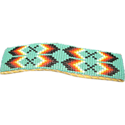 Beaded Barrette Seed Beads Deer Skin Clip On Turquoise Glass