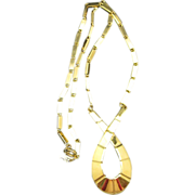 Trifari Necklace Gold Tone Metal Gold Tone Pendant