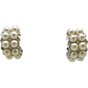Swarovski Earrings Silver tone Fake pearls RHINESTONES