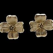 Flower earrings NAPIER Dogwood STERLING SILVER  Clip on