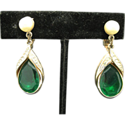 Green rhinestone earrings Clip On Large Tear drop dangles