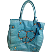 Betsey Johnson Teal Blue Leather Gold Chained Peace Sign/Prisoner of Love Latrge Hobo Bag