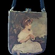 Vintage, Signed Satin TANO of MADRID POCKETBOOK; Depicting Fragonard Little Girl Painting; Min