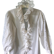 Vintage Austrian Eyelet Ruffled& Lace Blouse by LEICO; Size 36
