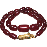 Georgian Paste Pinchbeck Snake Clasp, Bakelite Red Amber Bead Necklace