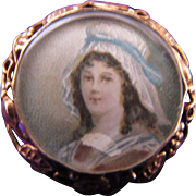 Antique Victorian Edwardian 14K Gold Portrait Face Pin Extraordinary Miniature Painting