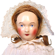 Antique Schlaggenwald China Head Doll with Original Body and Bisque Arms