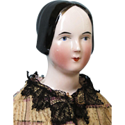 Rare 1840-1850 Antique China Head Doll with Open Ears And a Braided Bun